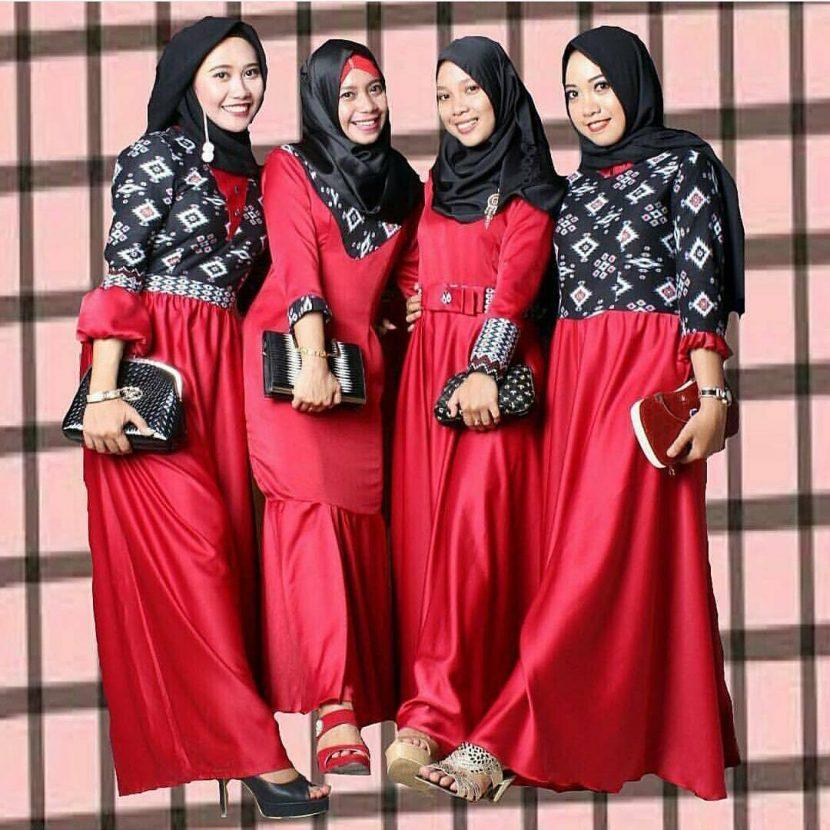 Model Gamis Batik Kombinasi