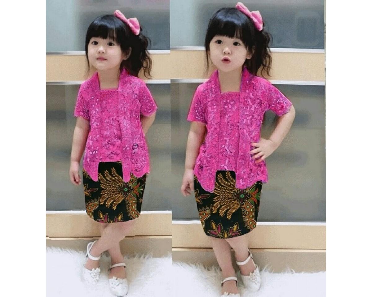baju anak batik kombinasi brokat